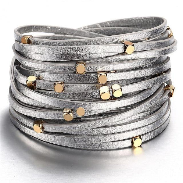 Leather Wrap Bracelets - Gold Silver Black | Women's Outfit Additions, Jewelry & Accessories Charmerry a03