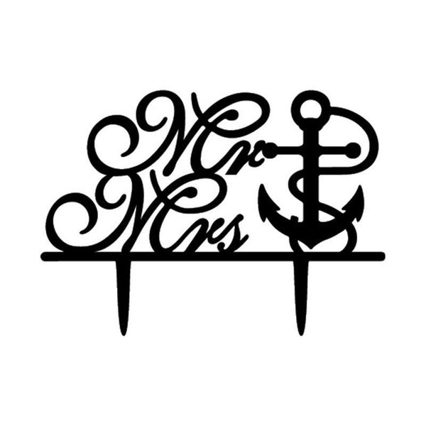 Wedding Cake Topper (Anchor /Navy Theme /Cursive Writing /Creative /Mr Mrs) - Charmerry