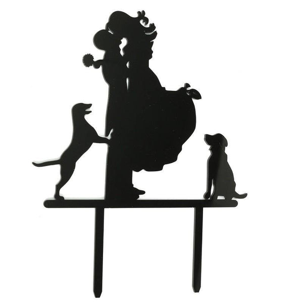 Wedding Cake Topper - Anniversary Cake Decoration (Bride Groom & Dog Pet)