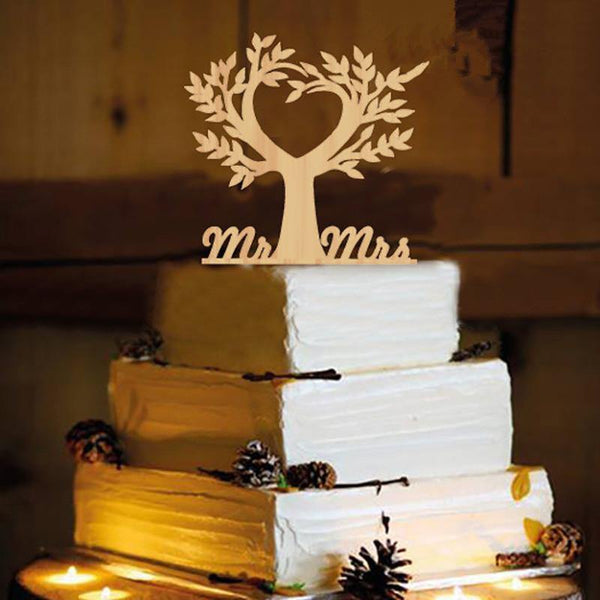 Wedding Cake Topper /Cake Decoration (Mr & Mrs Heart Shape Love Tree)