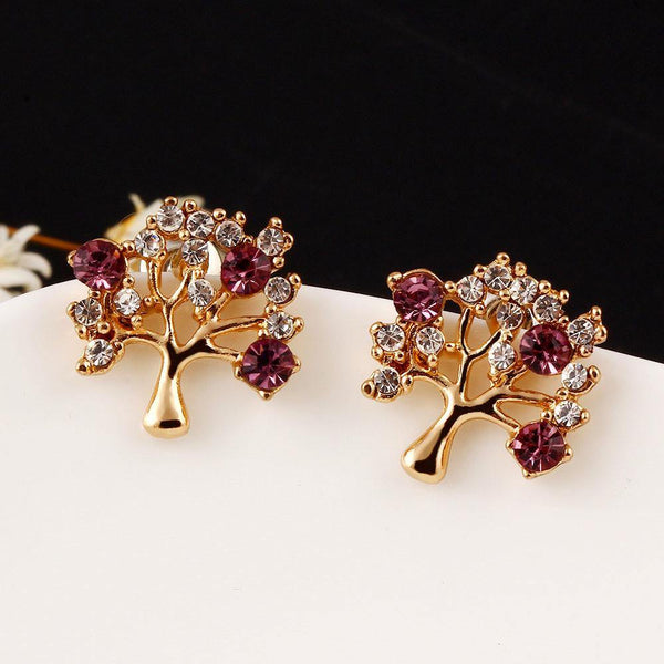 Fashion Jewelry Little Tree Rhinestone Stud Earring - Charmerry