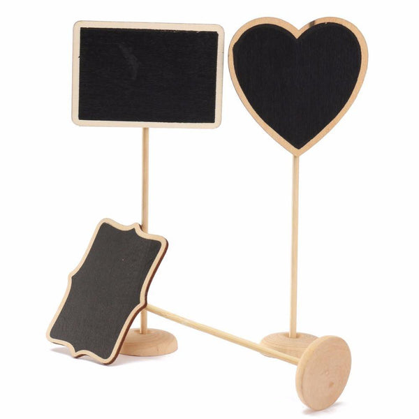 Wood Chalkboard Table Signs with Stand (Set of 5)