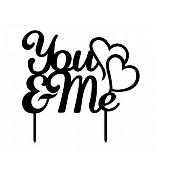 Cake Topper Romantic Wedding Cake Topper Decoration (Double Heart to Heart /You & Me) - Charmerry