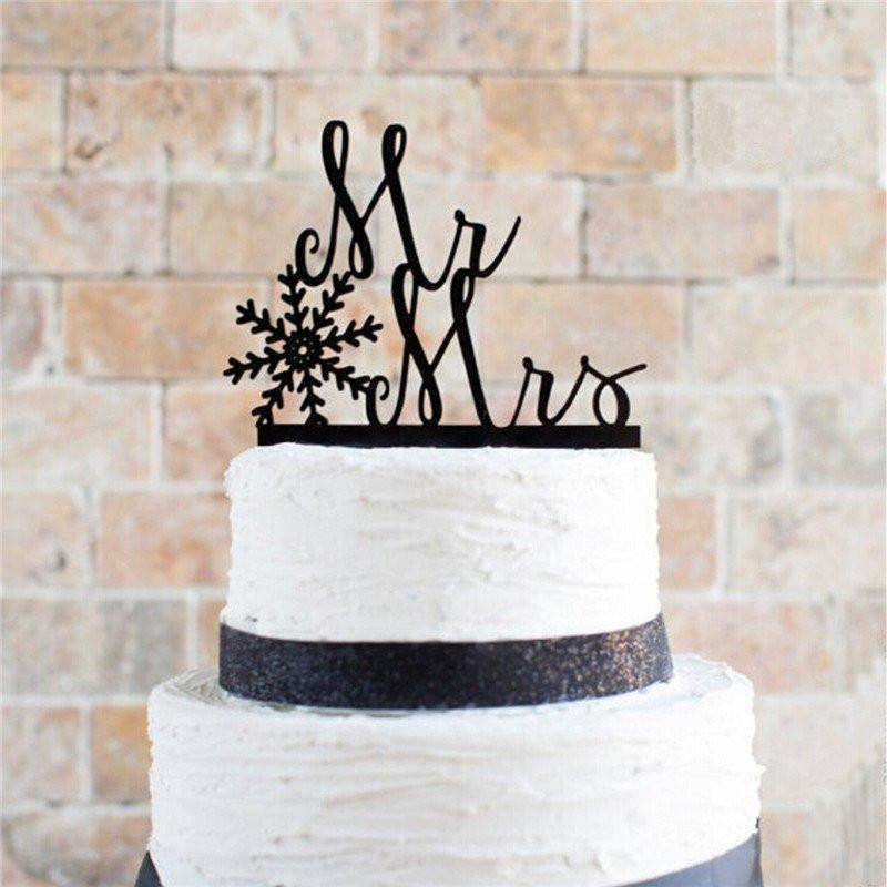 Snowflake Wedding Cake Topper for Wedding Anniversary Engagement (Christmas X'mas Holiday Style)