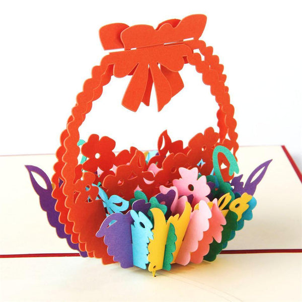 Greeding Cards Flower Basket Pop Up Birthday Card/ Greeting Card - Charmerry