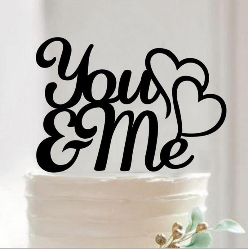 Wedding Cake Topper (Double Heart to Heart /Cursive /Handwriting /You & Me) - Charmerry
