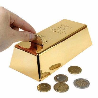 Coin Bank Bullion Bar Money Bank / Coin Saving Box/ Piggy Bank (999.9 Gold) - Charmerry