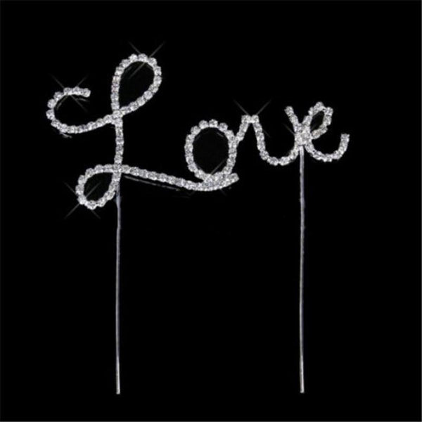 Cake Topper Crystal Weeding Cake Topper /Rhinestone Anniversary Cake Decoration (Love) - Charmerry