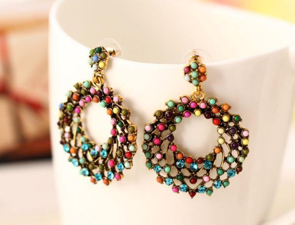 Colorful Circle Geo Drop Earring