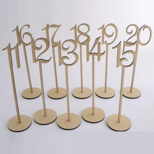 Wedding Supplies Table Number Wood Stand (Set of 10) - Charmerry