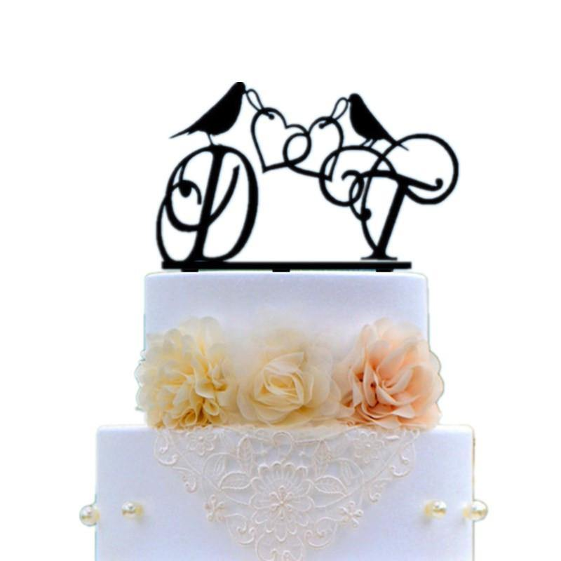 Cake Topper Cake Topper Decoration (Bird /Double Heart to Heart /Romantic Wedding) - Charmerry