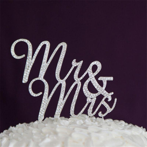 Cake Topper Mr Mrs Wedding Cake Topper (Rhinestone Crystal Faux Diamond Decoration) - Charmerry