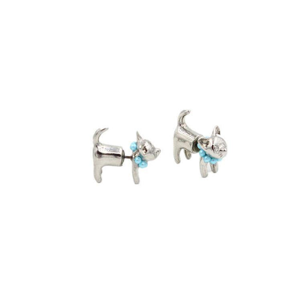 Fashion Jewelry Adorable Kitty Cat Double Sided Fashion Stud Earring - Charmerry