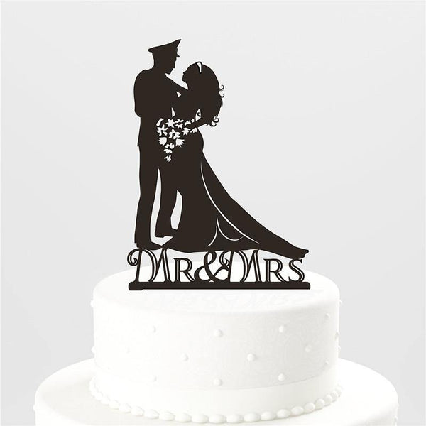 Bride Groom Cake Topper (Military Wedding Party /Soldier /Army Theme)