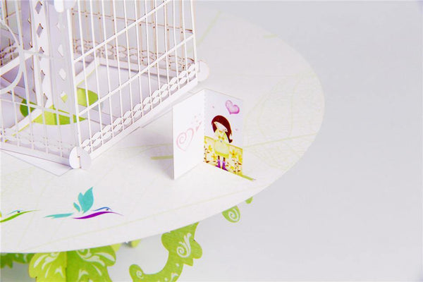 Love Message Bird and Birdcage / 3D Pop Up Greeting Card