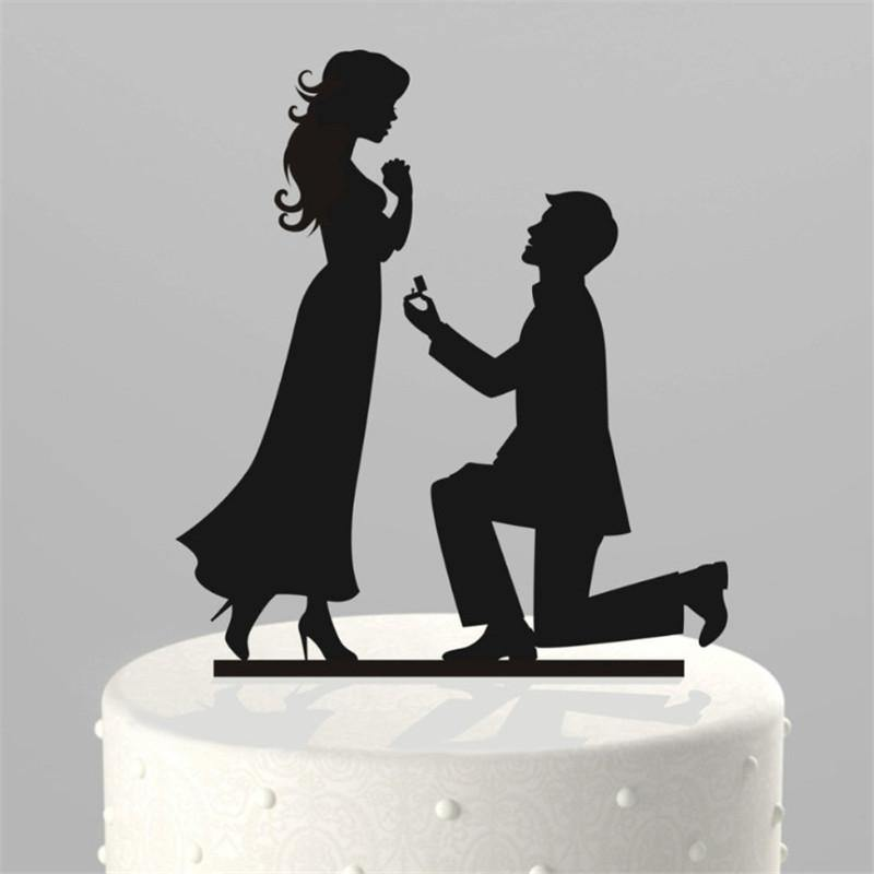 Cake Topper Romantic Proposing Cake Topper (Marriage Proposal /Wedding Ring) - Charmerry