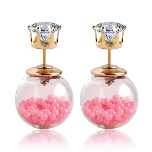 Fashion Jewelry Transparant Crystal Ball Double Sided Stud - Charmerry
