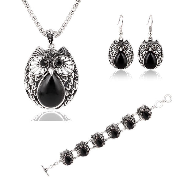 Round Owl Jewelry Set (Necklace, Earring & Bracelet)