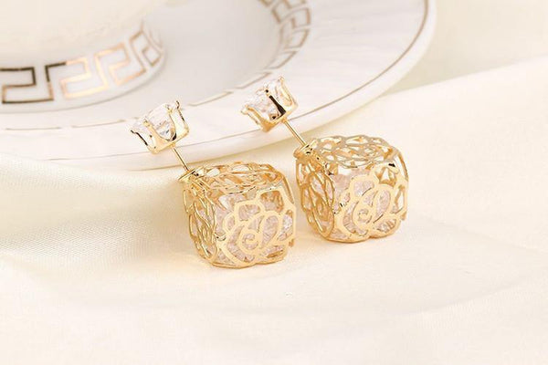 Rose Box Double Sided Stud Earring