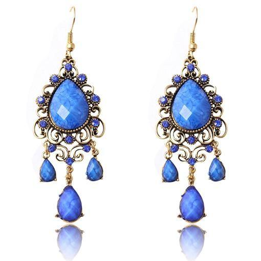 Fashion Jewelry Faux Color Stone Vintage Drop Earring - Charmerry