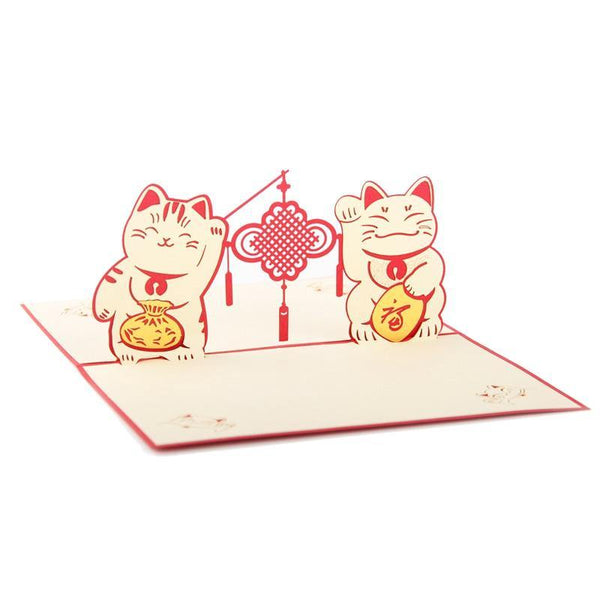Greeding Cards Locky Cat Greeting Card/ 3D Pop Up Creative - Charmerry