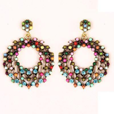 Fashion Jewelry Colorful Circle Geo Drop Earring - Charmerry