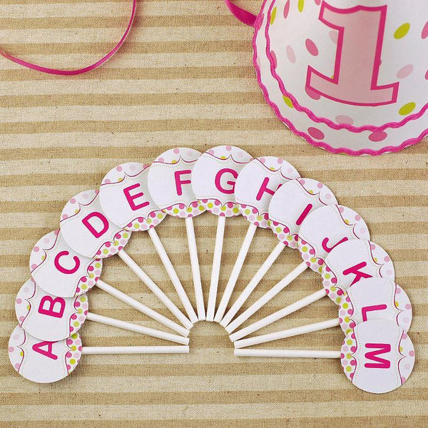 Cake Topper Letter Cake Topper for Baby Shower/ Kids Birthday Cake Decorations (Pink) - Charmerry