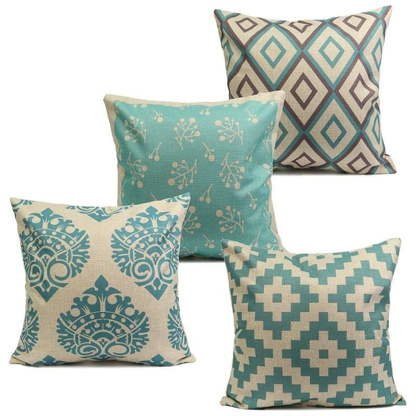Cushion & Cover Pillow Case/ Custion Cover Blue Vintage Style - Charmerry