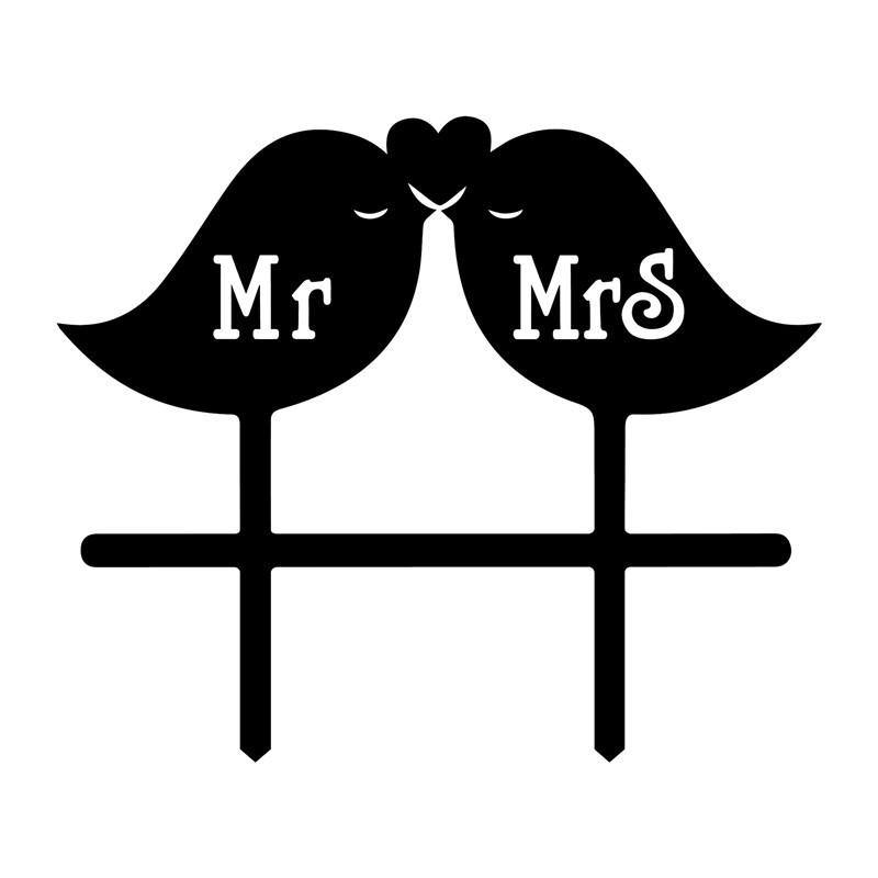 Sweet Wedding Cake Topper /Cute Cake Decoration (Pretty Bird Kiss /Mr Mrs)