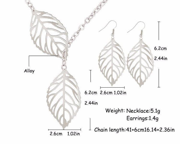 Fashion Jewelry Leaves Drop Earring - Charmerry