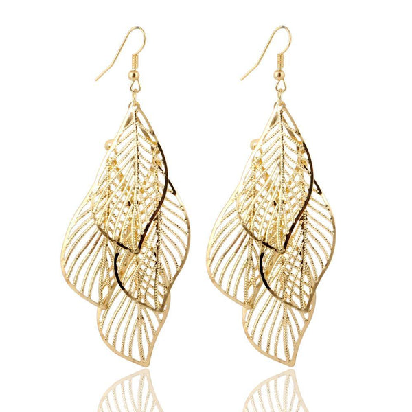 Fashion Jewelry Layer Leaves Drop Earring - Charmerry