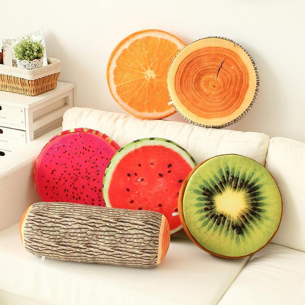 Cushion & Cover Wood/ Orange/ Watermelon/ Kiwi/ Dragon Fruit Round Cushion - Charmerry
