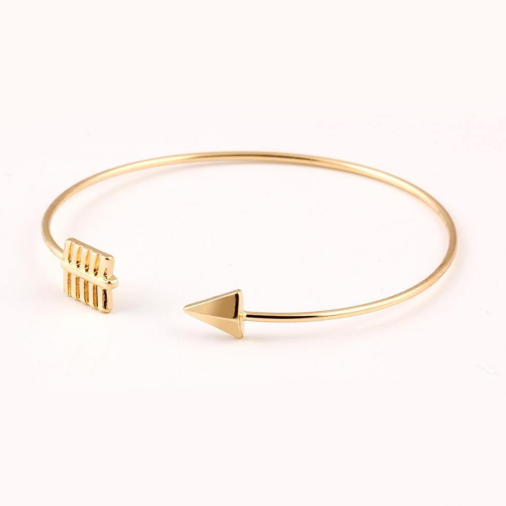 Fashion Jewelry Geo Alloy Golden Bangle Bracelet - Charmerry