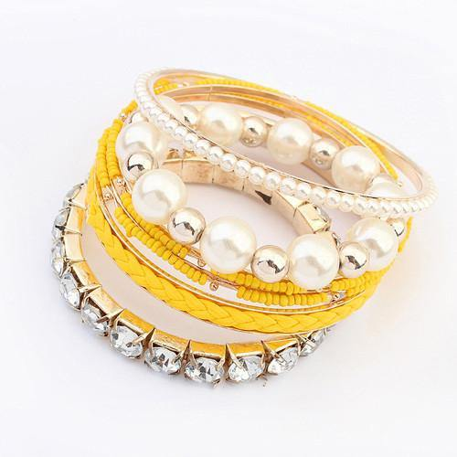 Rhinestone Layered Bangle Bracelet (Set of 6)