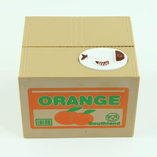 Toy Coin Bank/ Piggy Bank/ Automated Saving Box (Kitty Cat in Orange Box) - Charmerry