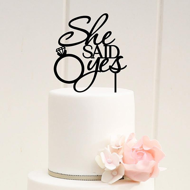 Cake Topper Wedding Cake Topper - She Said Yes (Diamond Ring) - Charmerry