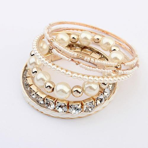 Fashion Jewelry Rhinestone Layered Bangle Bracelet (Set of 6) - Charmerry
