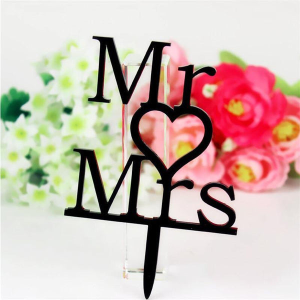 Cake Topper Wedding Cake Topper /Anniversary Cake Decoration (Mr Love Mrs /Sweet Heart) - Charmerry