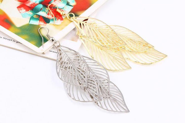 Layer Leaves Drop Earring