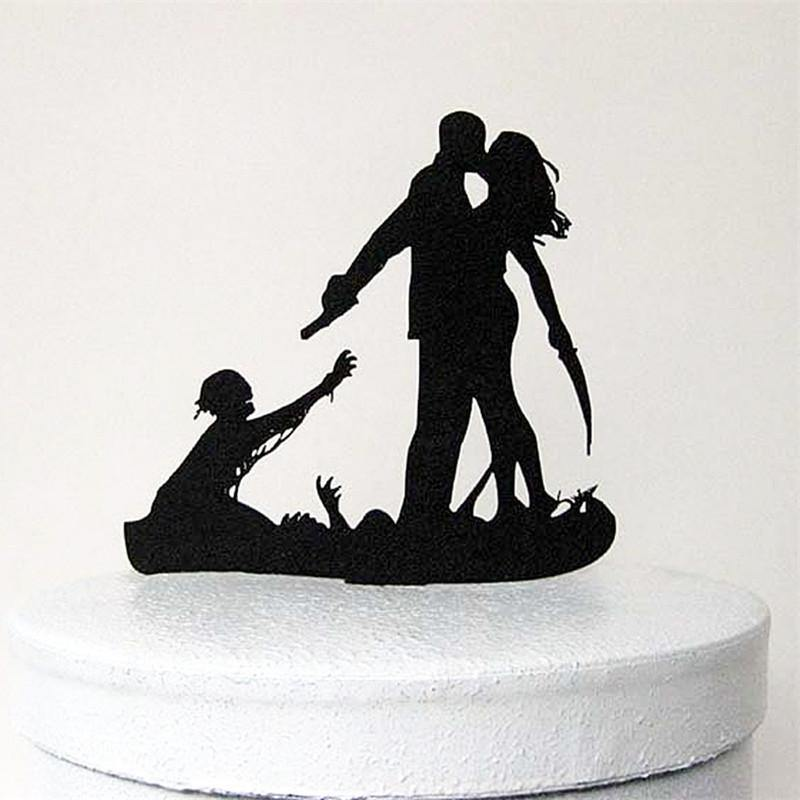 Wedding Cake Topper (Scary Horror Halloween Theme  /Funny Humorous Creative)