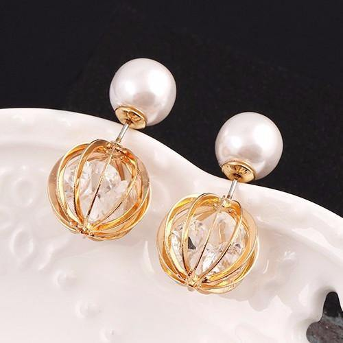 Fashion Jewelry Faux Pearl Elegant Fashion Double Sided Stud - Charmerry
