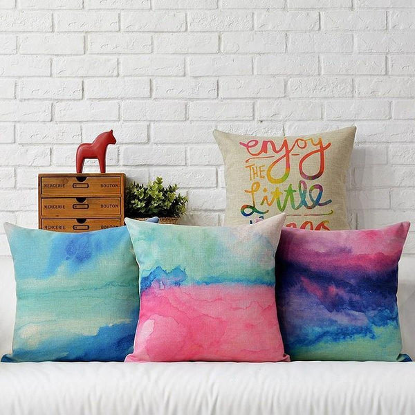 Pillow Case/ Cushion Cover (Watercolor Design)