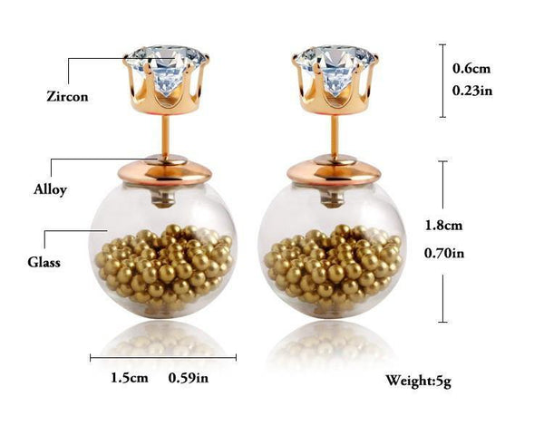 Transparant Crystal Ball Double Sided Stud