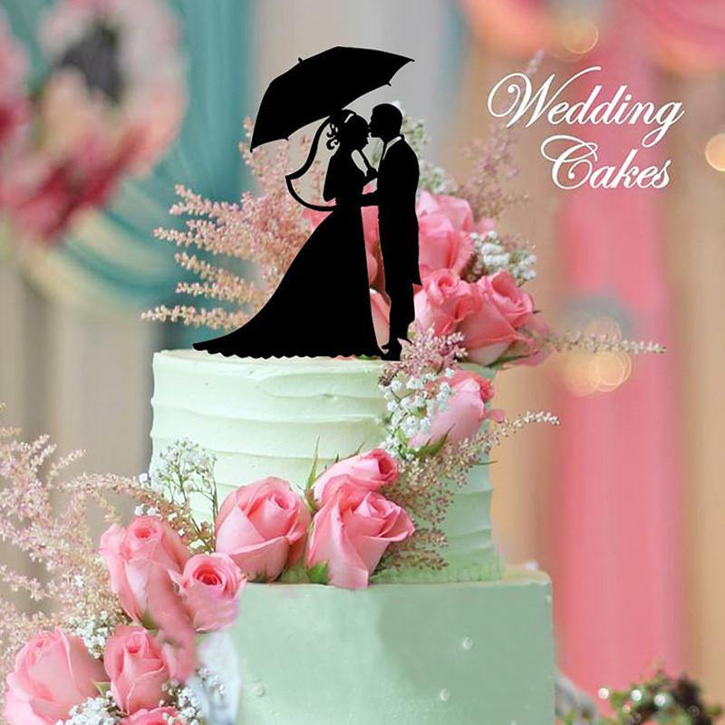 Wedding Cake Topper (Forehead Kiss /Embrace /Bride Groom /Umbrella Parasol)