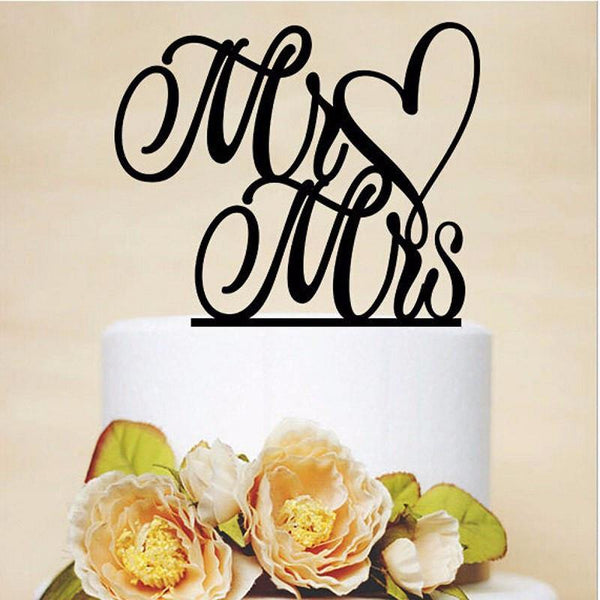 Wedding Cake Topper -Mr Love Mrs Heart Shape Cake Decoration