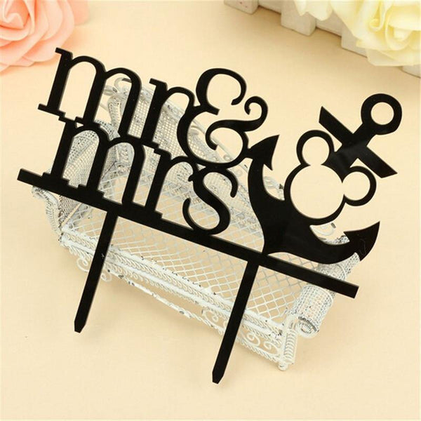 Wedding Cake Topper /Anniversary Cake Decoration (Anchor /Navy)