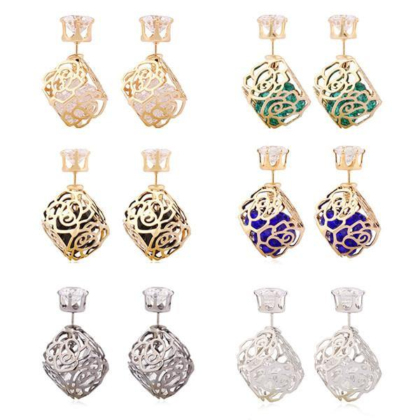 Fashion Jewelry Rose Box Double Sided Stud Earring - Charmerry