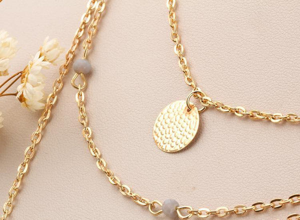Fashion Jewelry Layered Necklace/ Alloy Feather and Round - Charmerry