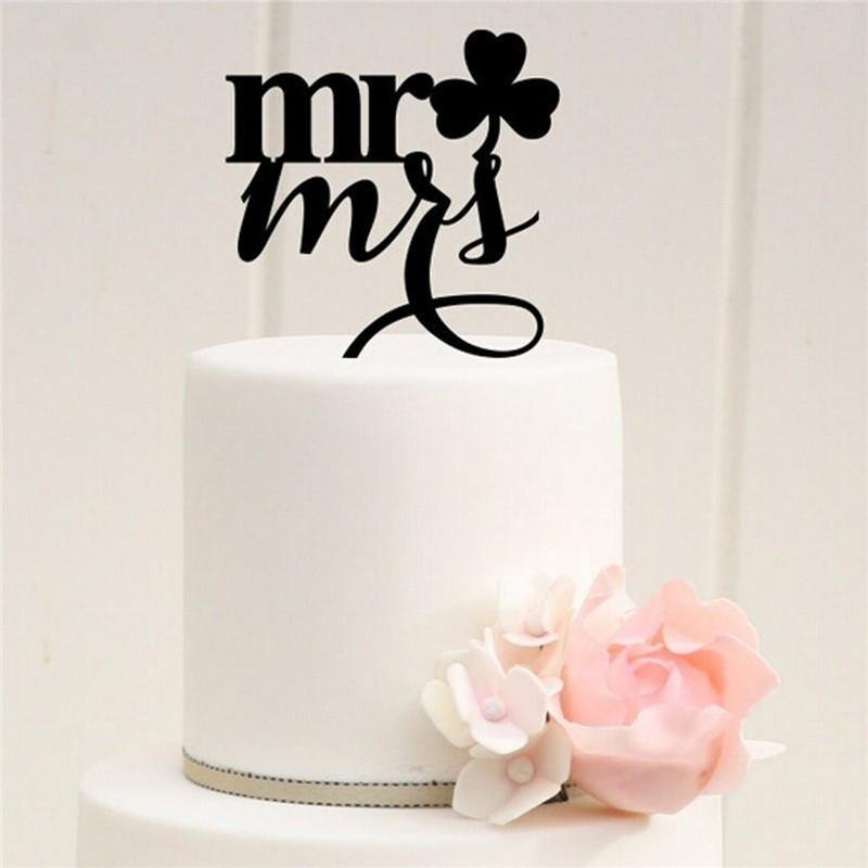 Wedding Cake Topper Mr Mrs Cake Decoration Lucky Clover