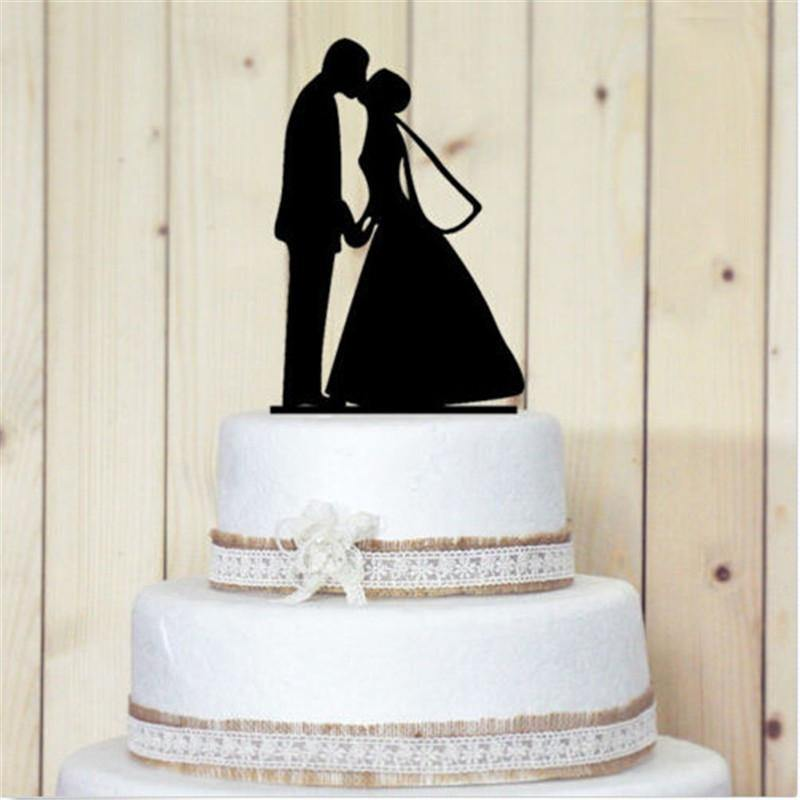 Cake Topper Romantic Cake Topper (Groom Bride /Hold Hands & Kiss /Beautiful Moment) - Charmerry